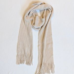 Cejon ivory fringe scarf gold metallic threads